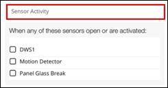 image of sensor activity text field
