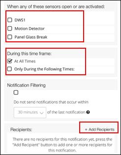 image of the sensor notification options