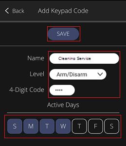 Mobile App - Add Keypad Code