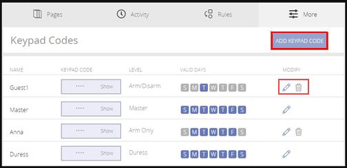 Image of keypad codes screen