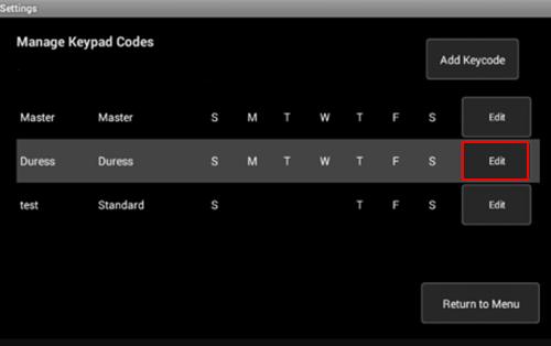 Image of Manage Keypad Codes