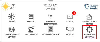 Image of Settings Menu, Advanced Settings icon