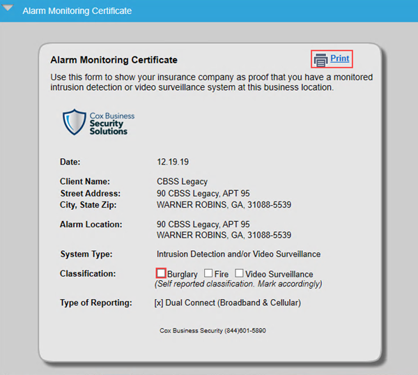 Image of the Alarm Monitoring Certificate
