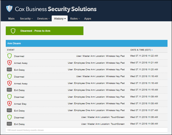 Image of Security Solutions Detection web portal Arms/Disarms report
