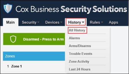 Image of History tab, All History