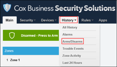 Image of Security Solutions Detection web portal highlighting History tab and Arms/Disarms