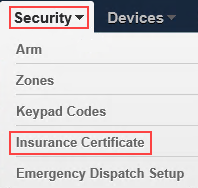 Image of Security menu