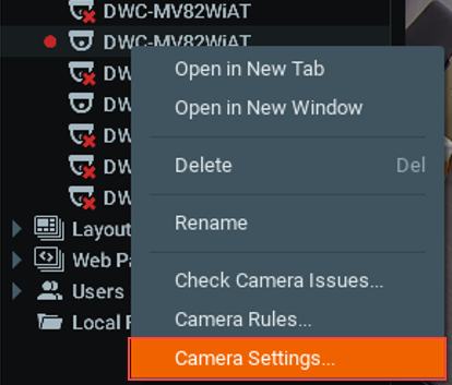 Image of the Rename Camera option
