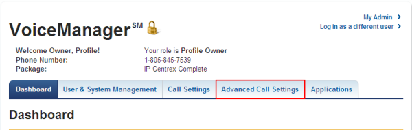 Advanced Call Settings tab