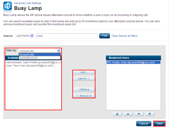 Busy Lamp Field Available Users