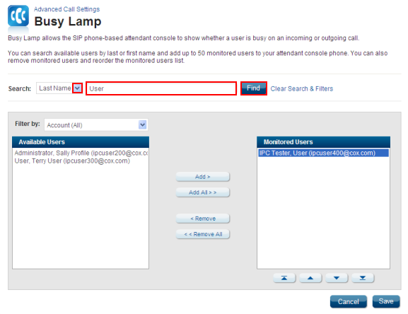 Busy Lamp Field Search
