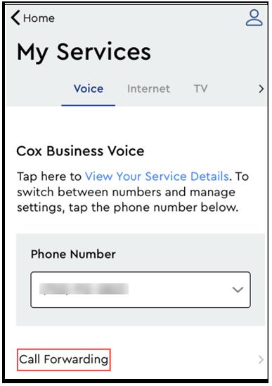 Image of MyAccount Call Fowarding