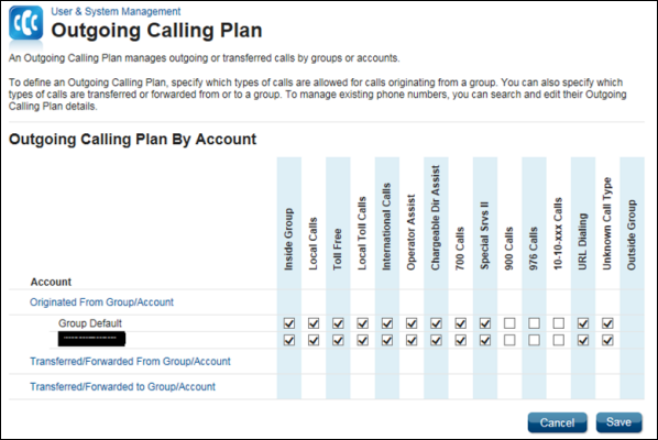 Account Outgoing Calling Plan