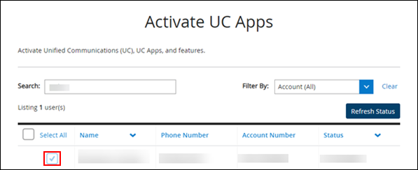 image of the activate uc apps page in myaccount