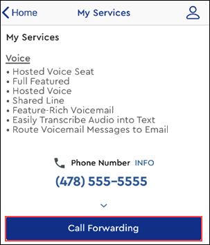 Image of MyAccount app Voice page highlighting Call forwarding