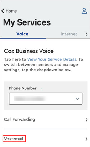 Image of Voicemail button