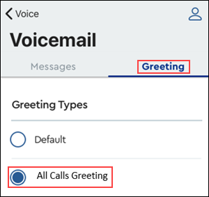 Image of MyAccount Voicemail Greetings tab highlighting all calls greeting