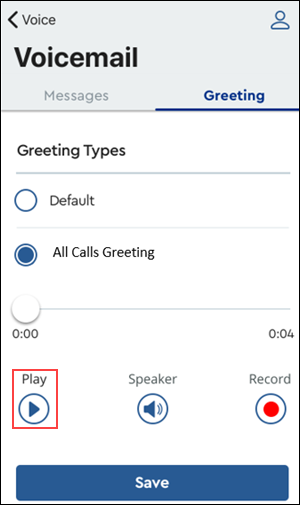 Image of MyAccount Voicemail All Call Greeting highlighting Play
