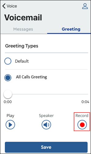 Image of MyAccount Voicemail All Call Greeting highlighting Record