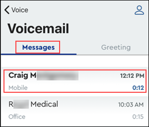 Image of MyAccount Voicemail message tab highlighting a new message