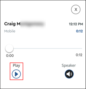 Image of MyAccount Voicemail message highlighting play