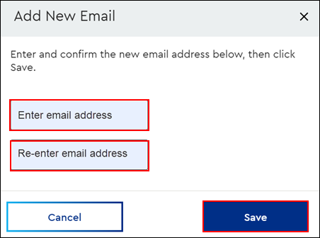 Image of MyAccount Fax to Email Add New Email page highlighting the Enter email address field, Re-enter email address field and the Save button