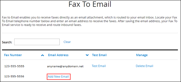 Image of MyAccount Fax to Email section highlighting the Add New Email link