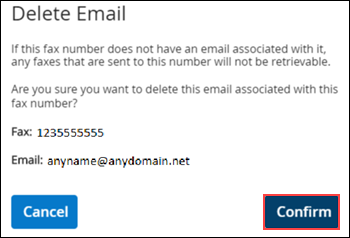 Image of MyAccount Fax to Email Delete Email page highlighting the Confirm button