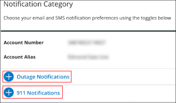 Image of MyAccount Notification Category page highlighting 911 Notifications