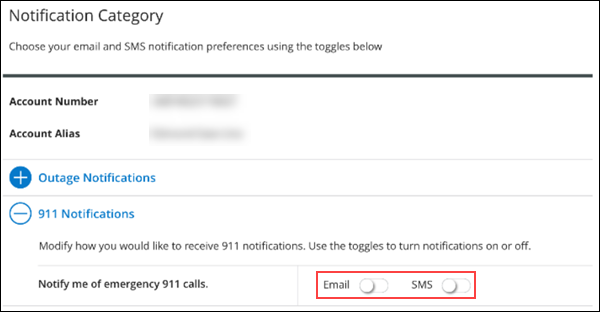 Image of MyAccount 911 Notifications section highlighting the Email and SMS toggles