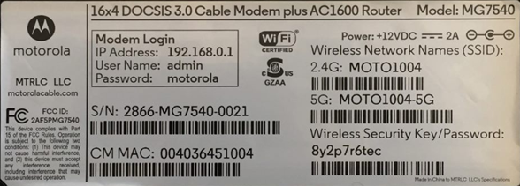 image of Motorola MG7540 MAC Address Label