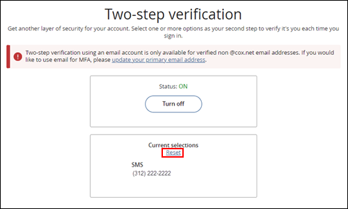 Image of Two-step verification Reset Link
