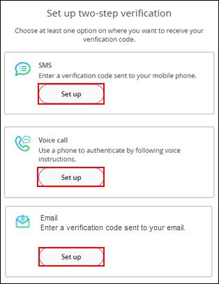 Image of Set Up Two-step Verification window