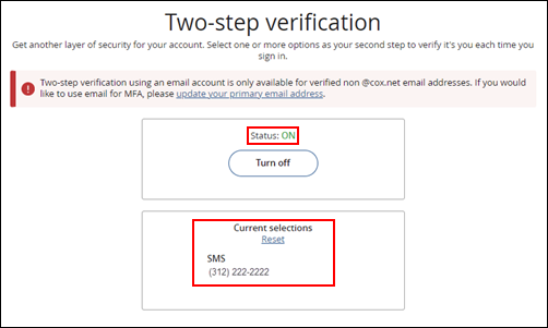 Image of Two-step Verification Status ON