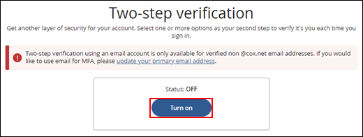 Image of Two-step verification Turn on button
