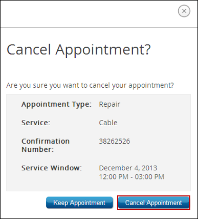 Cancel Appointment confirmation window