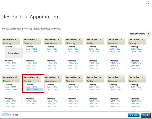 Reschedule Appointment window