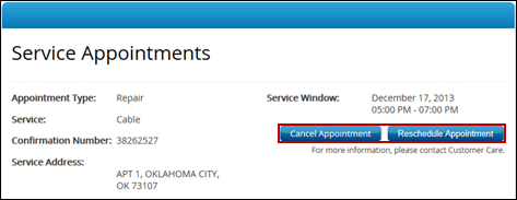 Service Appointments window, highlighting Reschedule Appointment