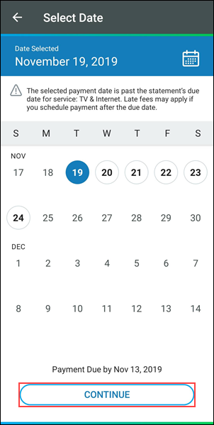 image of the cox app payment select date screen