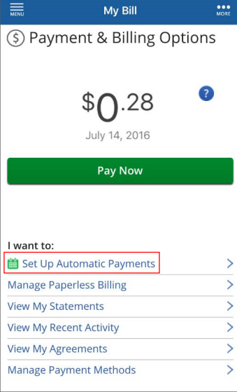 Image of Cox Connect Payment & Billing Options Highlighting Set Up Automatic Payments