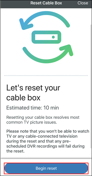 image of the reset cable box screen with begin reset highlighted