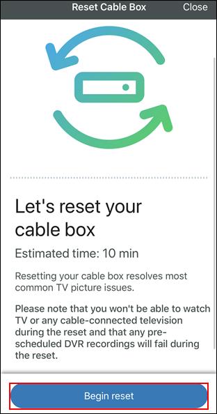 imagen de la pantalla de reset cable box con begin reset resaltado