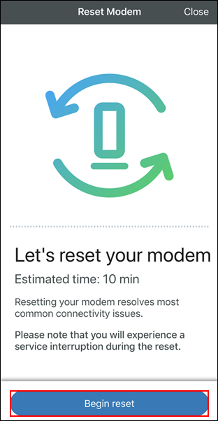 imagen de la pantalla de reset modem con begin reset resaltado