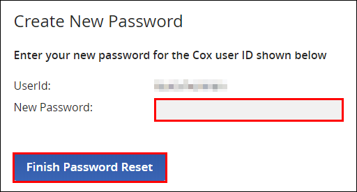 enter password and click finish password reset