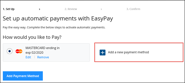 Image of EasyPay set up on Cox.com highlighting Add a new payment option