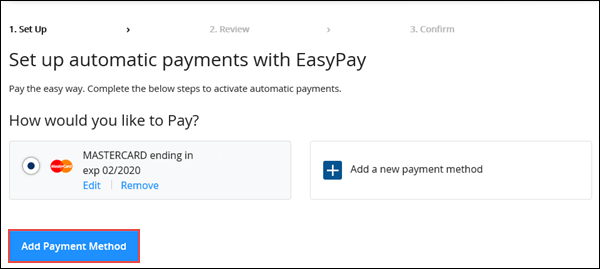 Image of EasyPay set up on Cox.com highlighting Add Payment Method button