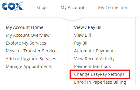 change EasyPay settings