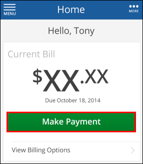 Cox  Connect Home screen, highlighting Make Payment