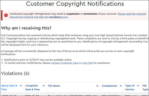 example image of violations in myaccount