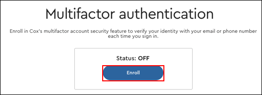 Image of Multifactor authentication Enroll button